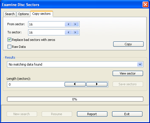 Copy sectors allows the direct copying of selected sectors to a disk file
