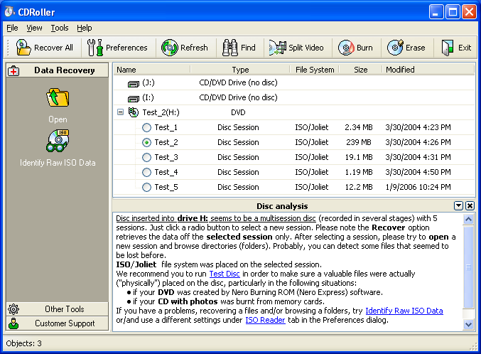 Session selector for multisession CD (DVD). Data recovery from all sessions.