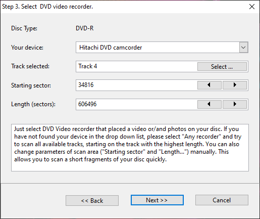 Step 3. Params for the first scan on the damaged dvd