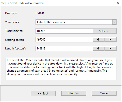 Step 3. Params for the new scan on the damaged dvd