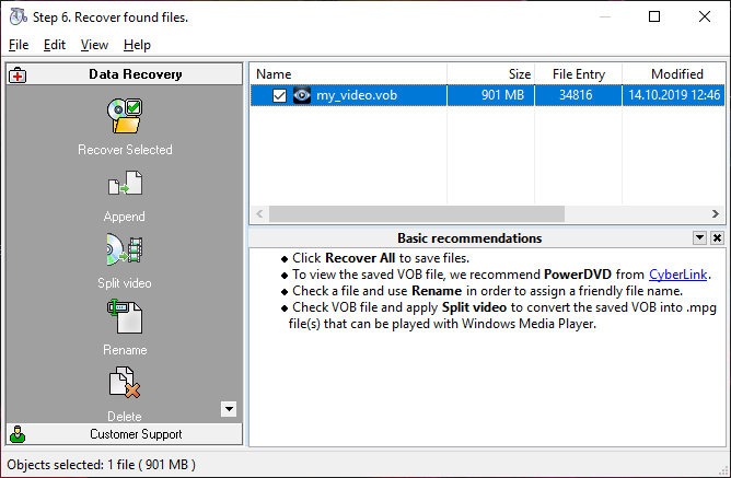 Recover the first block of sectors on the damaged dvd