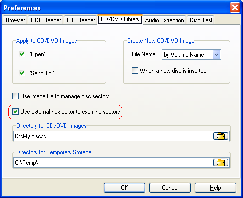 Use external hex editor for detailed analysis of CD/DVD/BD data